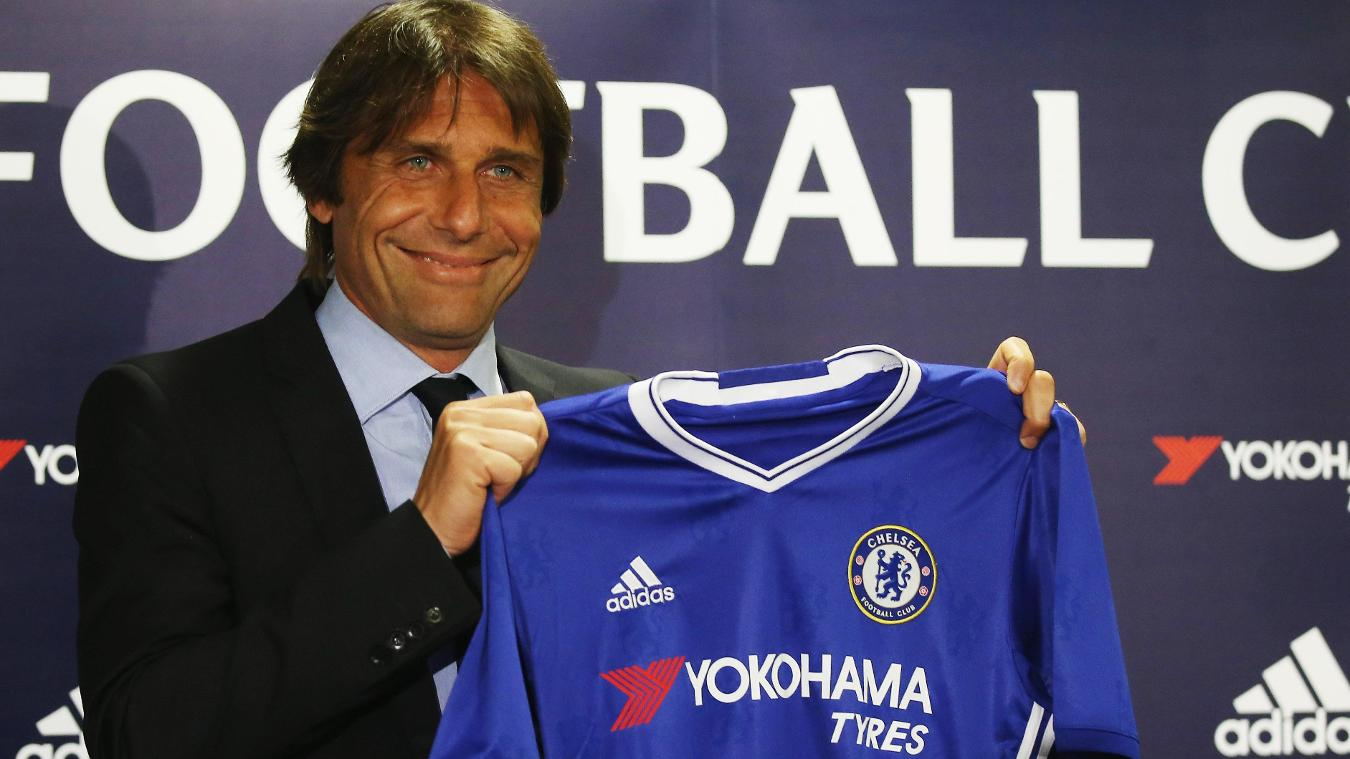 Antonio Conte attends his first press conference as Chelsea manager