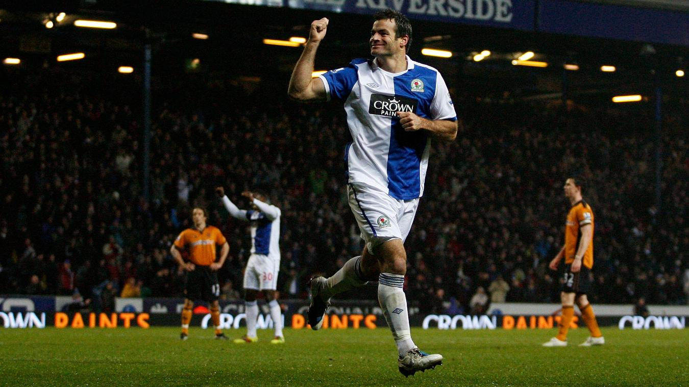 Ryan Nelsen celebrates scoring for Blackburn Rovers