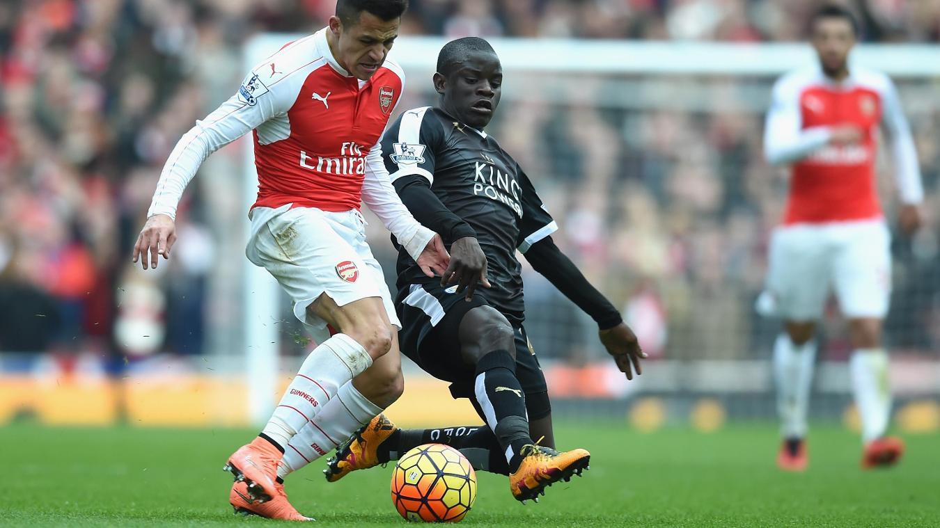 N'Golo Kante tackles Alexis Sanchez, Arsenal v Leicester City