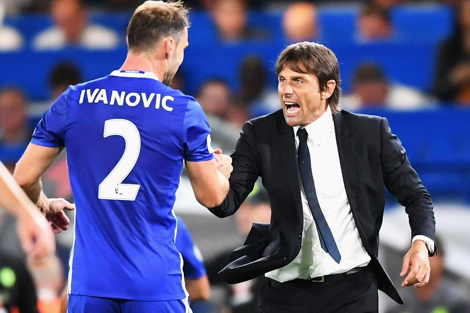 Chelsea head coach Antonio Conte and Branislav Ivanovic