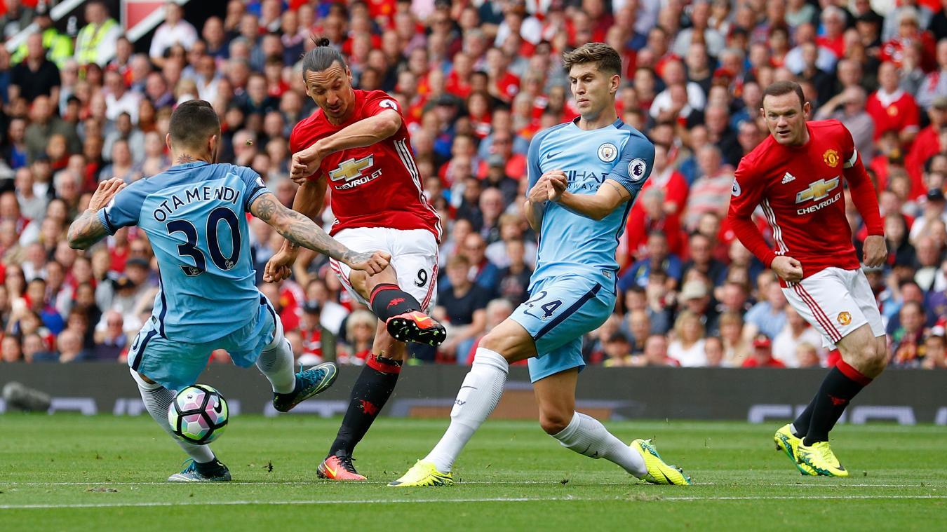 Zlatan Ibrahimovic playing against Man City