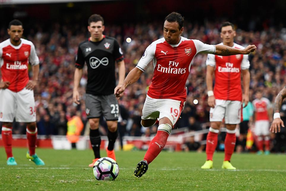 Santi Cazorla, penalty, Arsenal v Southampton, 100916