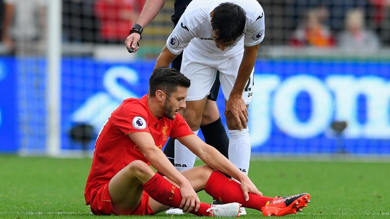 Swansea City v Liverpool - Premier League, 011016, Adam Lallana injured