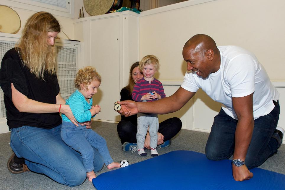 Dion Dublin visits Nordoff Robbins centre in London