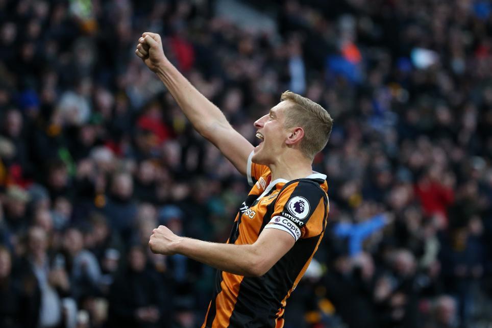 Hull City's Michael Dawson celebrates scoring their second goal