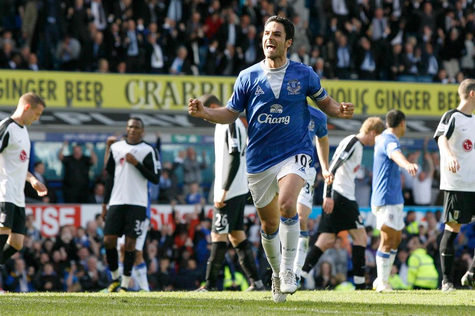 Mikel Arteta celebrates scoring for Everton