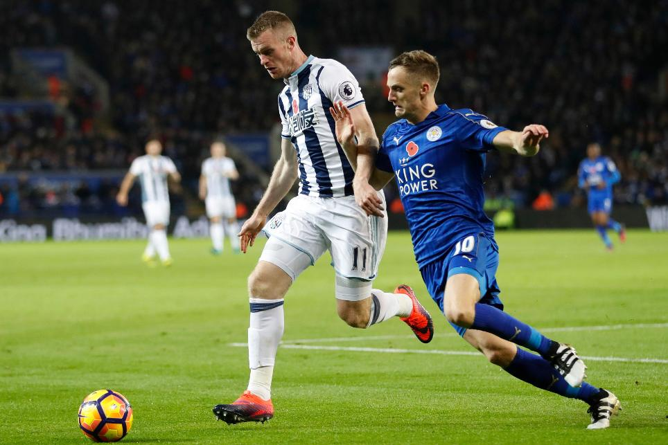 West Bromwich Albion's Chris Brunt in action with Leicester City's Andy King