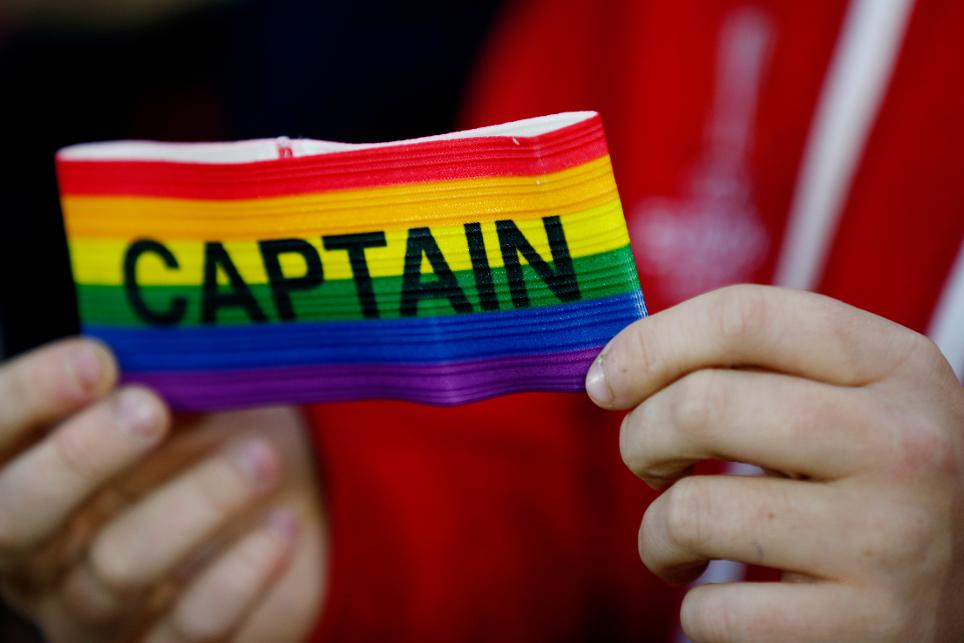 A rainbow captain's armband in support of Stonewall's Rainbow Laces campaign