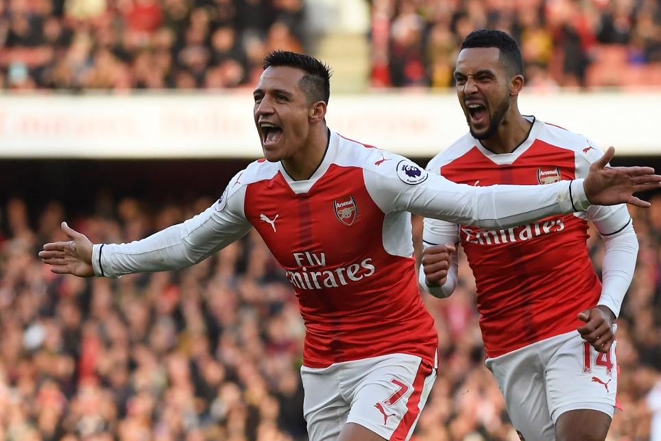 Arsenal's Alexis Sanchez and Theo Walcott