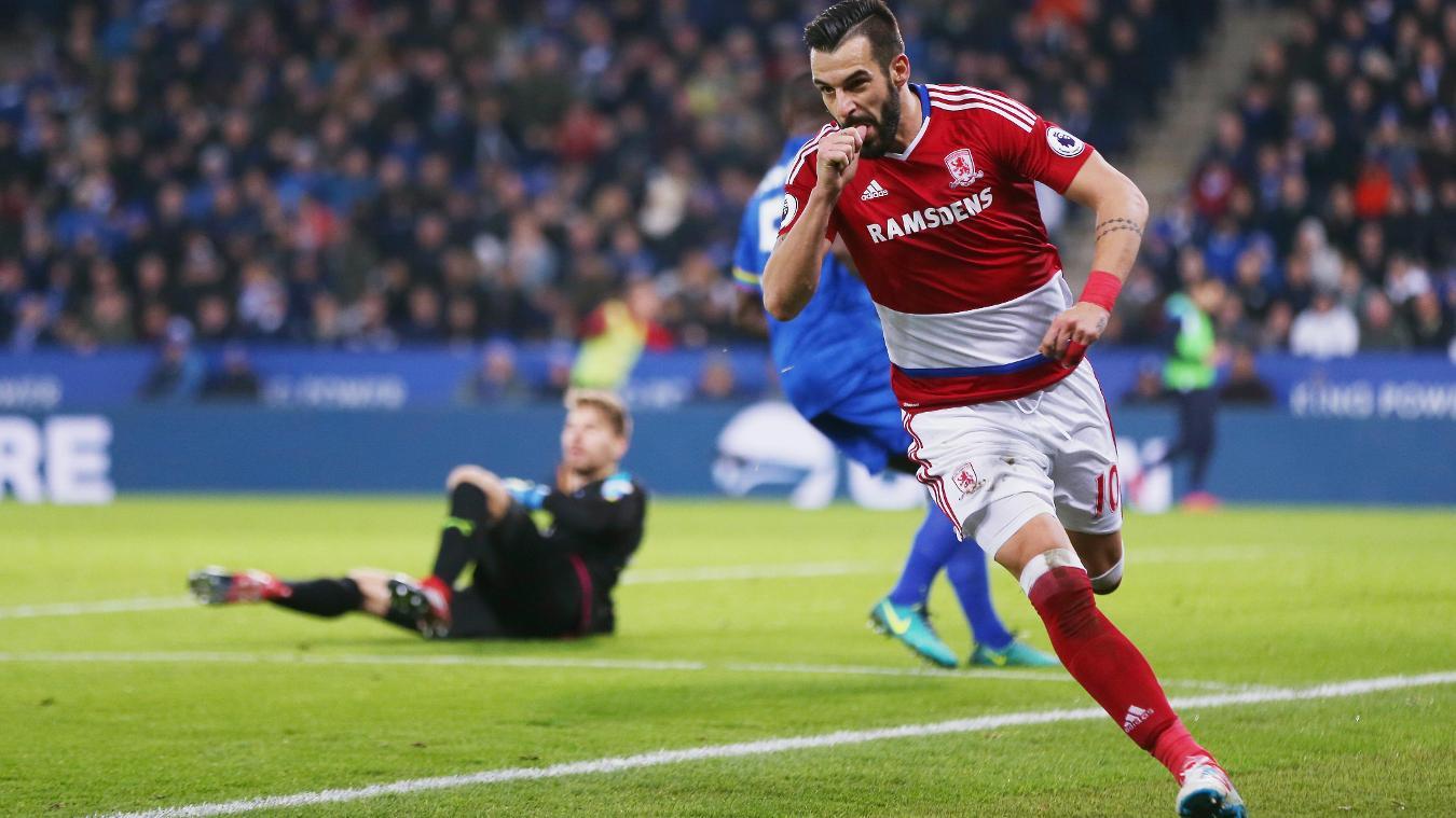 Leicester City v Middlesbrough, Alvaro Negredo, goal, cele, 261116