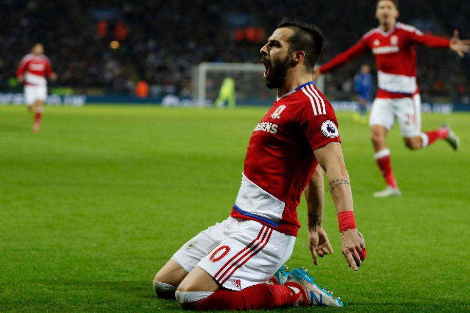 Alvaro Negredo goal cele, Leicester City v Middlesbrough, 261116