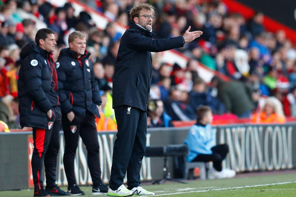 Liverpool manager Juergen Klopp and Bournemouth manager Eddie Howe