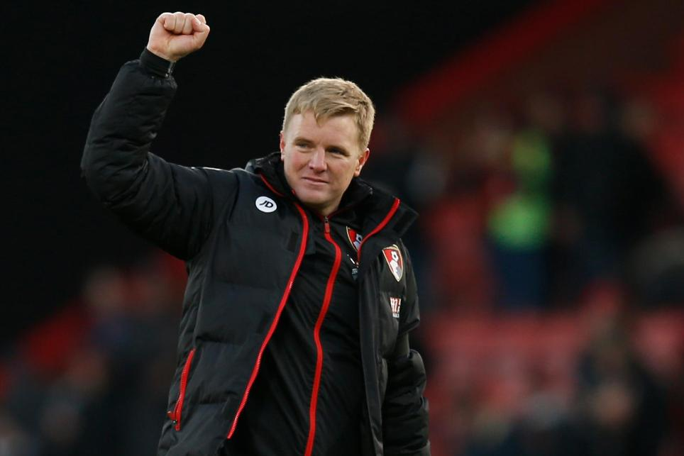 Bournemouth manager Eddie Howe celebrates after the game