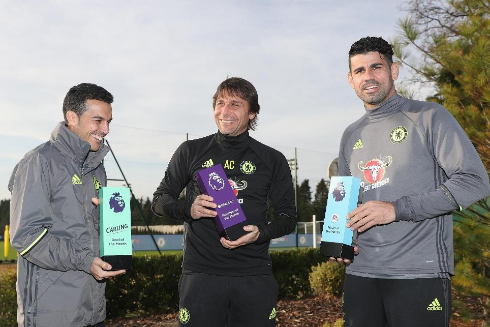 November's Goal (Pedro), Manager (Conte) and Player (Costa) of the Month winners