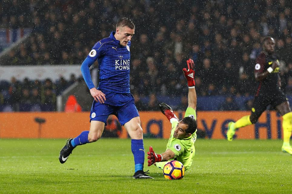 Leicester City's Jamie Vardy scores their third goal