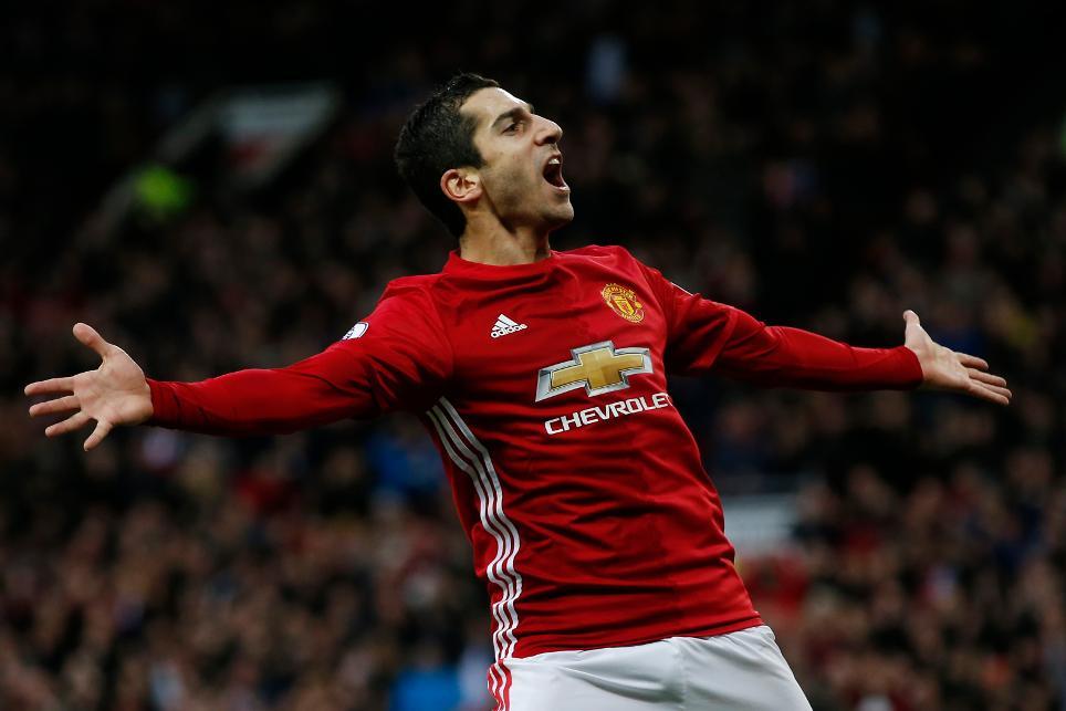 Manchester United's Henrikh Mkhitaryan celebrates scoring their first goal