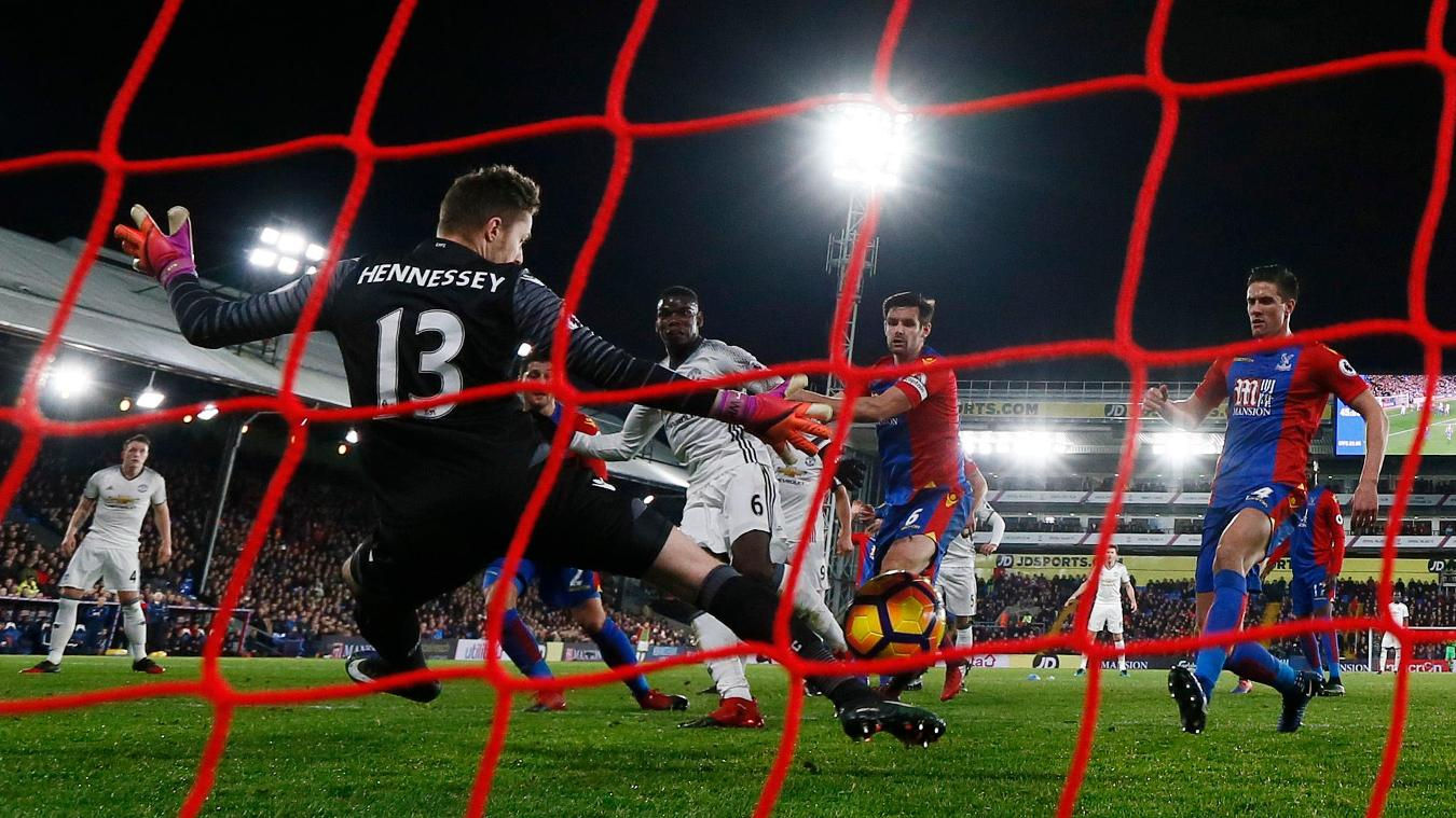 Manchester United's Paul Pogba scores their first goal against Crystal Palace