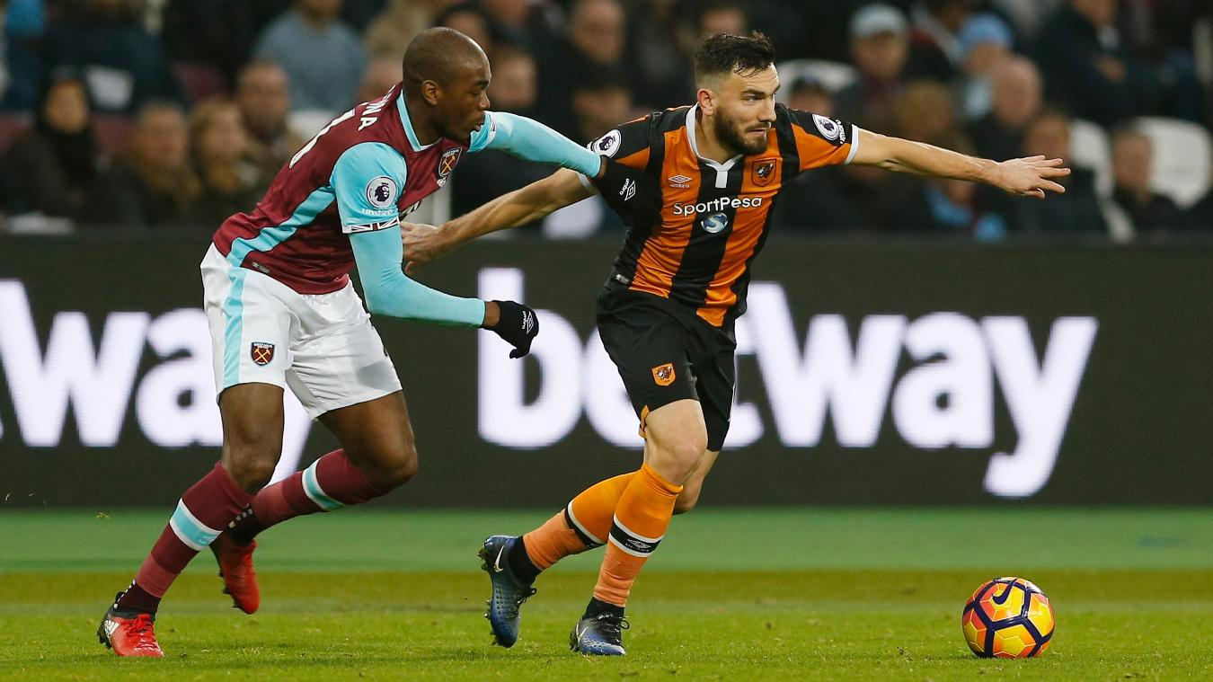 Robert Snodgrass, Hull City, right, with Angelo Ogbonna, West Ham