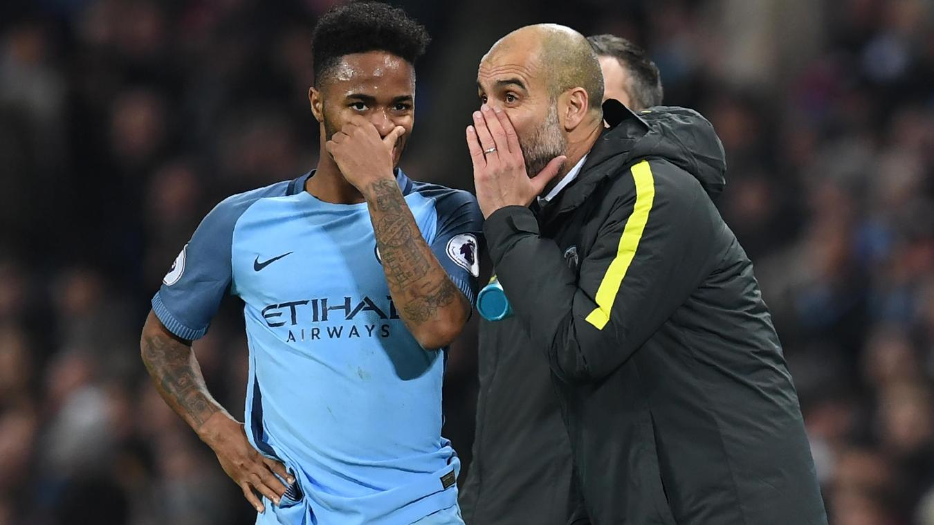 Raheem Sterling, Manchester City, left, with manager Pep Guardiola