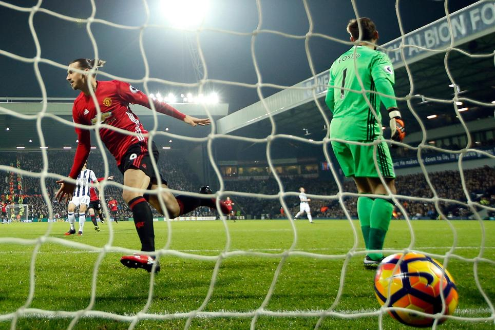 Manchester United's Zlatan Ibrahimovic celebrates scoring their first goal against West Brom