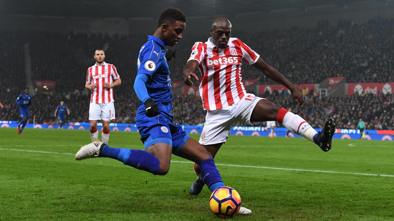 Leicester City's Demarai Gray and Stoke City's Bruno Martins Indi
