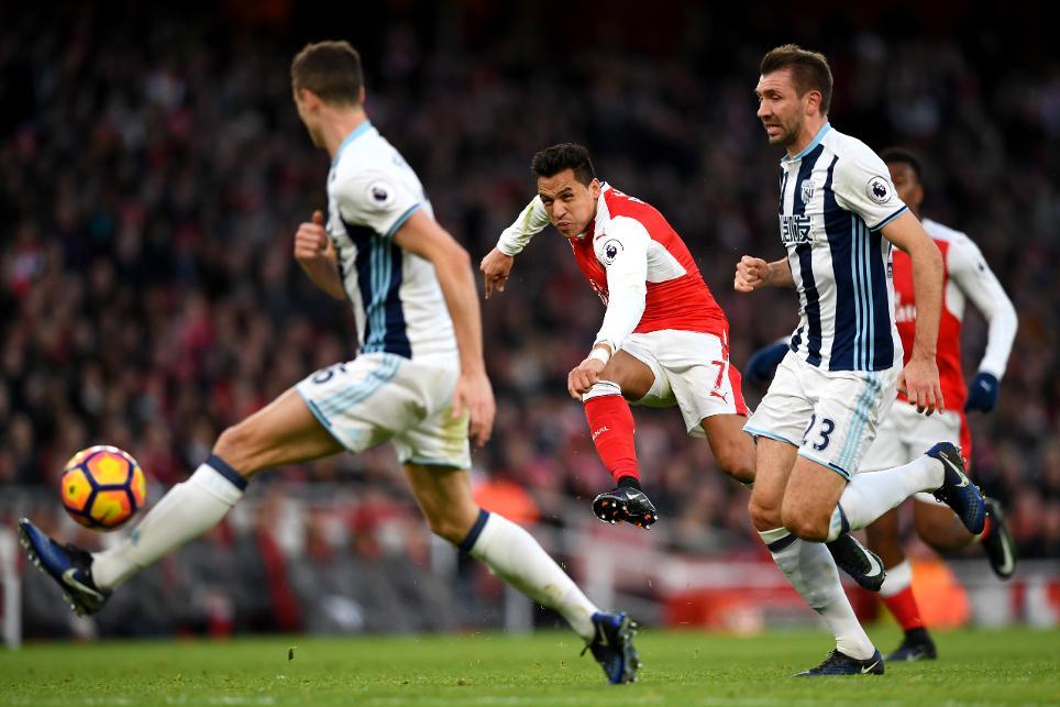 Arsenal v West Bromwich Albion, Alexis Sanchez shot