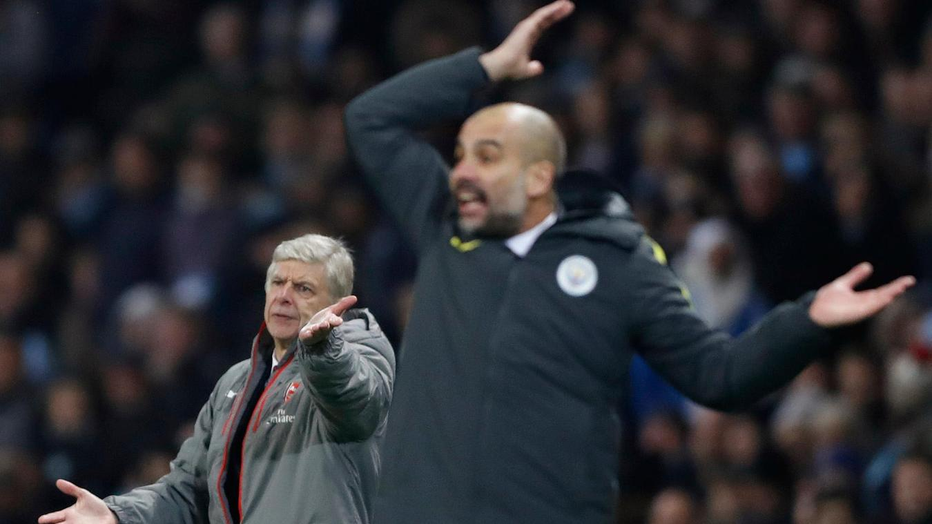Arsenal manager Arsene Wenger and Manchester City manager Pep Guardiola