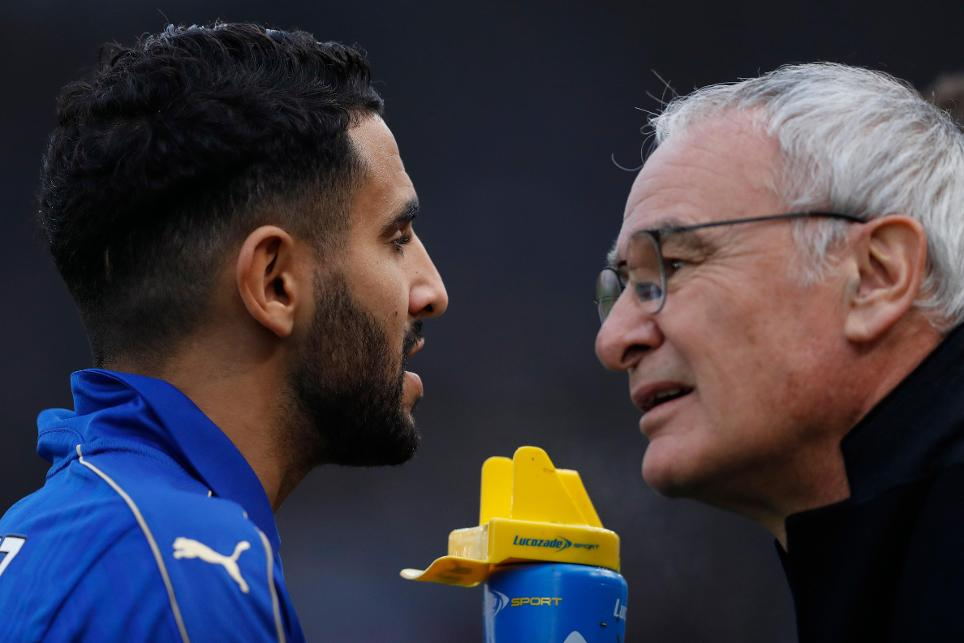 Leicester City manager Claudio Ranieri and Riyad Mahrez before the match