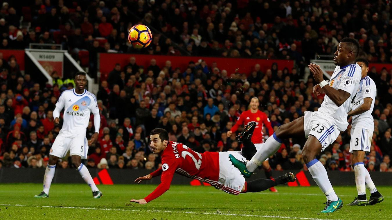 Manchester United's Henrikh Mkhitaryan scores their third goal