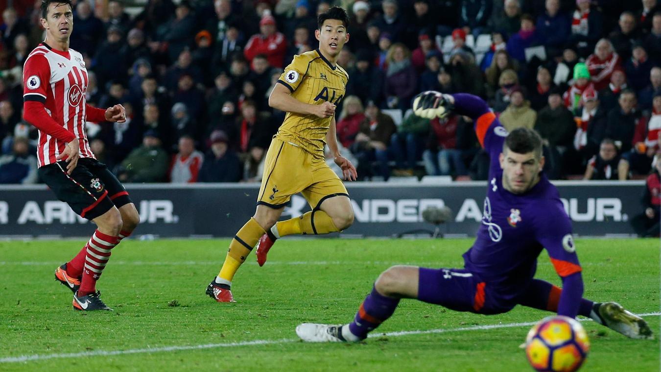 Tottenham's Son Heung-min scores their third goal