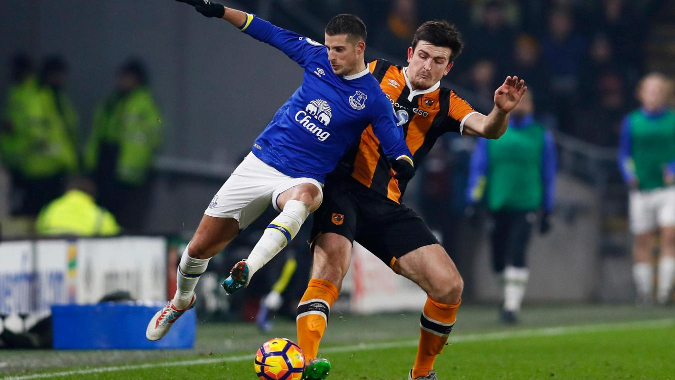 Everton's Kevin Mirallas and Hull City's Harry Maguire