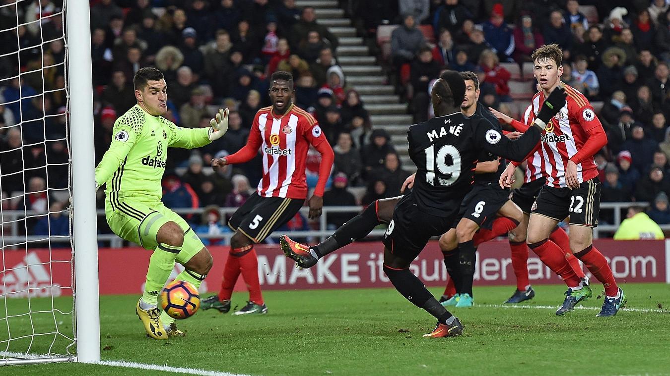 Sunderland v Liverpool, Mane goal, 020117