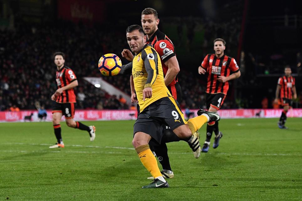 Arsenal's Lucas Perez scores their second goal
