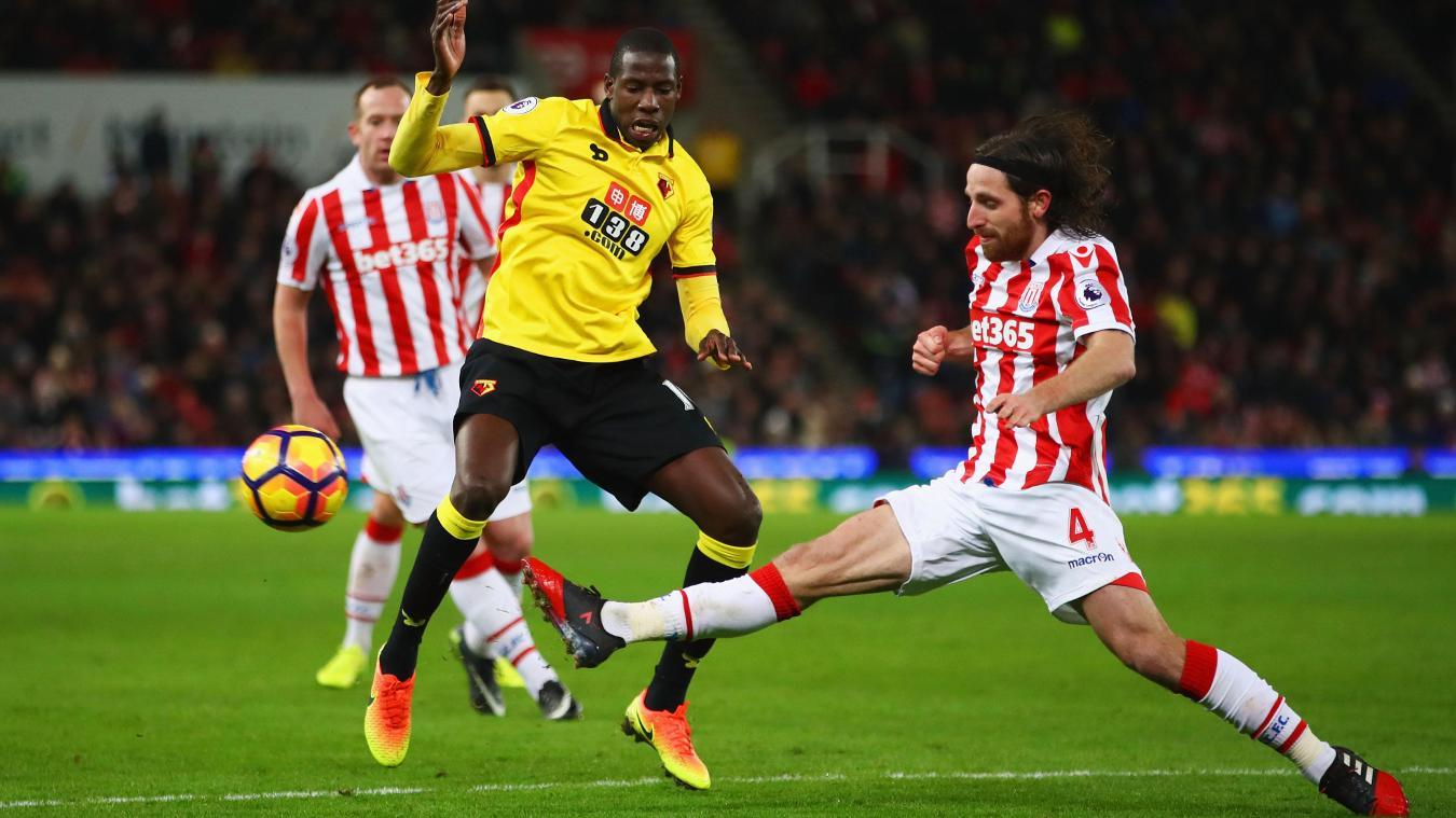 Stoke City v Watford, 030117, Joe Allen tackle