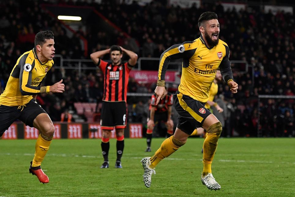 AFC Bournemouth v Arsenal, Giroud cele, 030117