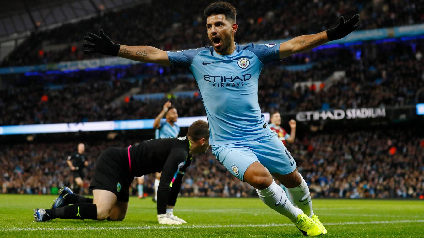 Manchester City's Sergio Aguero celebrates scoring their second goal, 020117