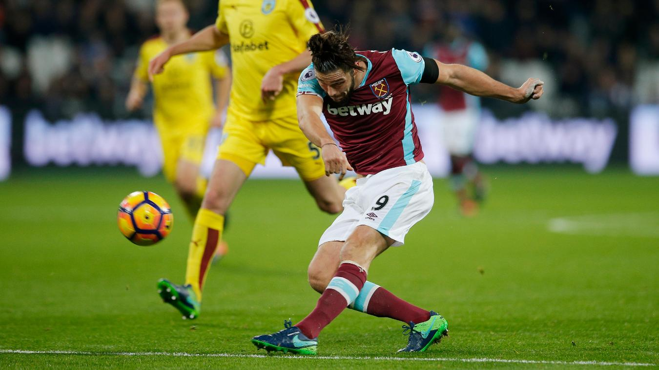 West Ham United's Andy Carroll shoots at goal