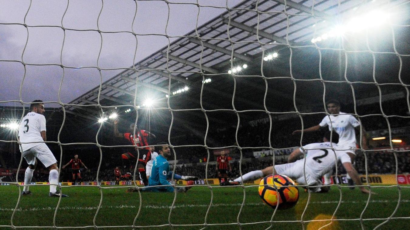 Swansea v Bournemouth's Benik Afobe, goal,