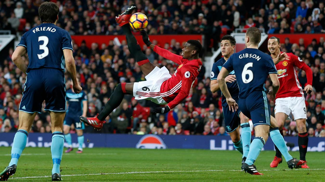Manchester United 2-1 Middlesbrough, Paul Pogba kick