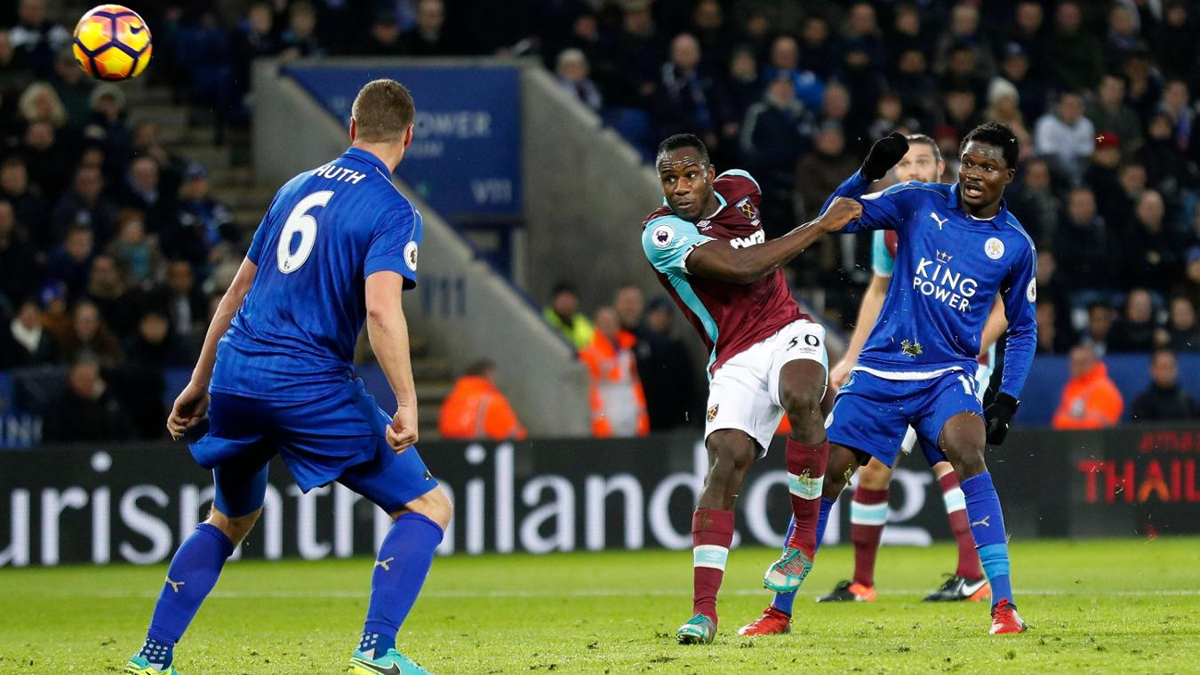 West Ham United's Michail Antonio hits the bar, Leicester City