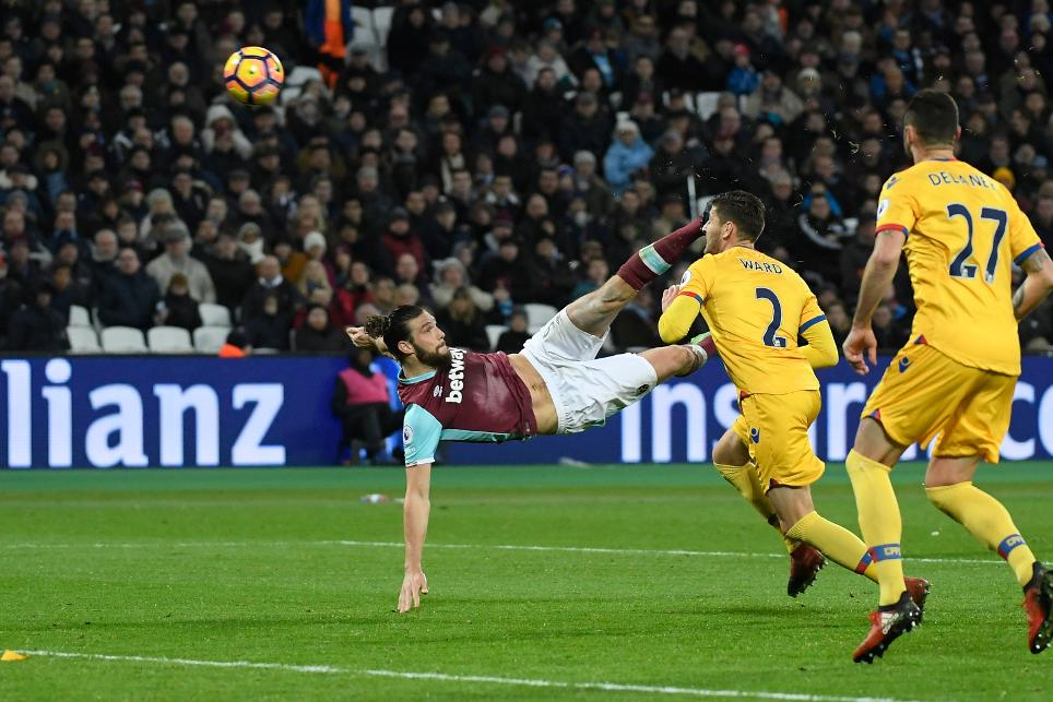 West Ham United's Andy Carroll scores their second goal