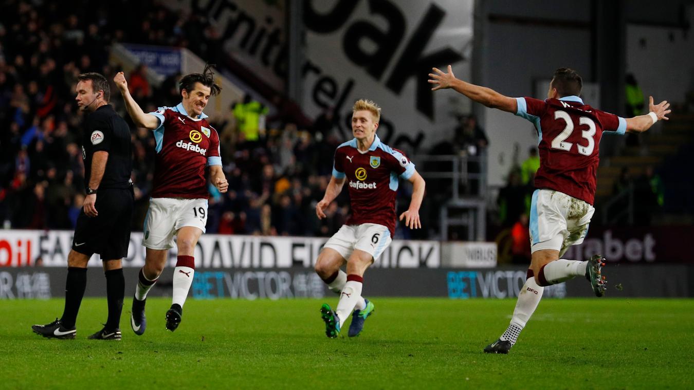 Burnley's Joey Barton, Ben Mee and Stephen Ward