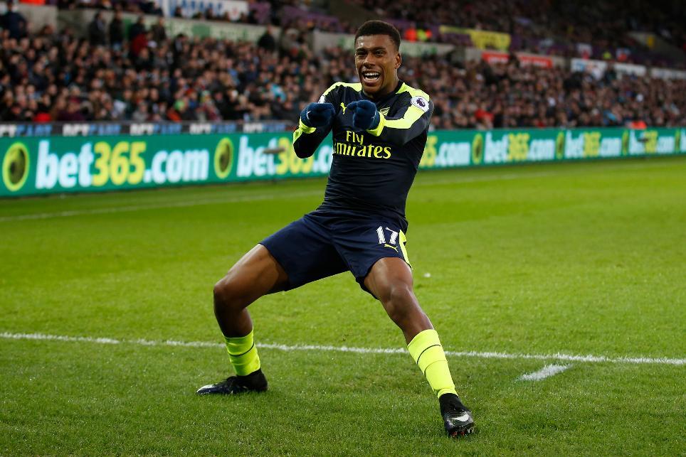 Arsenal's Alex Iwobi celebrates scoring their second goal