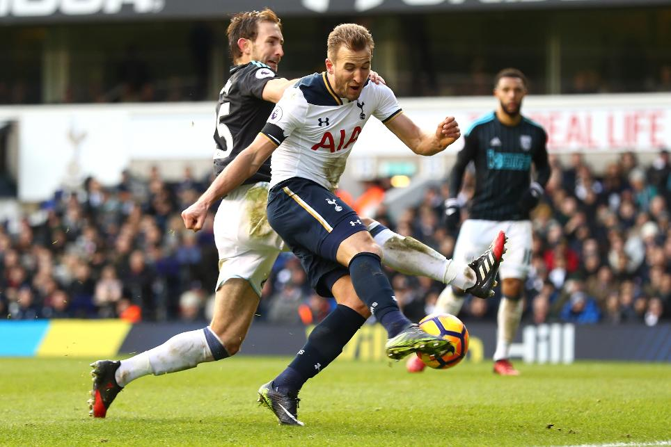 Harry Kane scores against West Brom