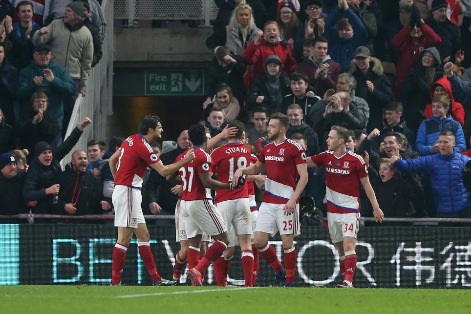 Middlesbrough's Cristhian Stuani celebrates scoring with team-mates