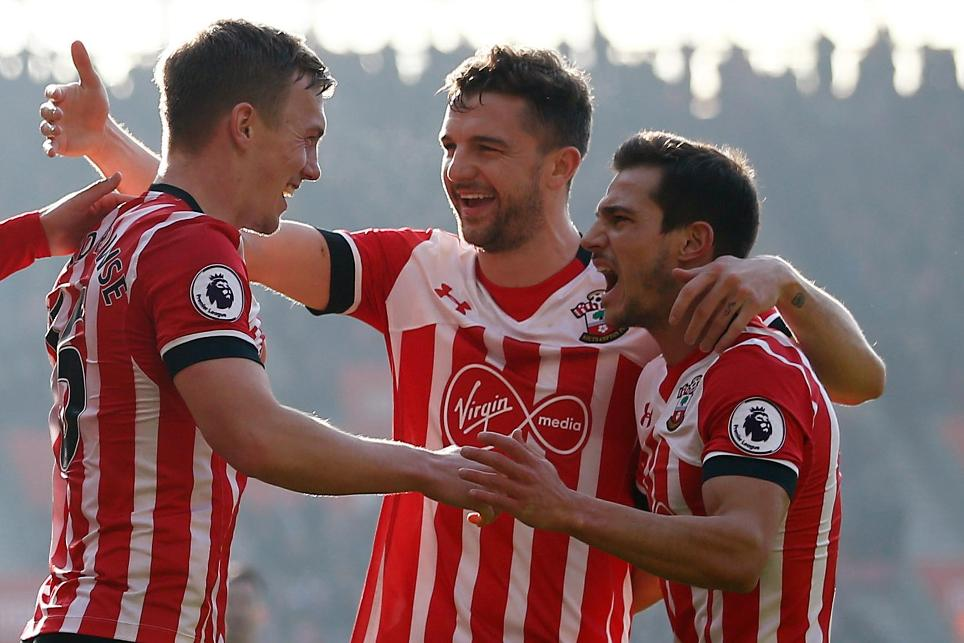 Southampton's James Ward-Prowse, Jay Rodriguez and Cedric Soares