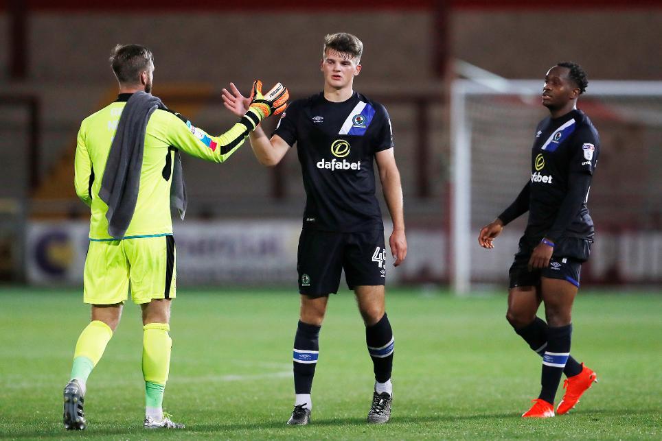 Matty Platt celebrates with his Blackburn team-mates