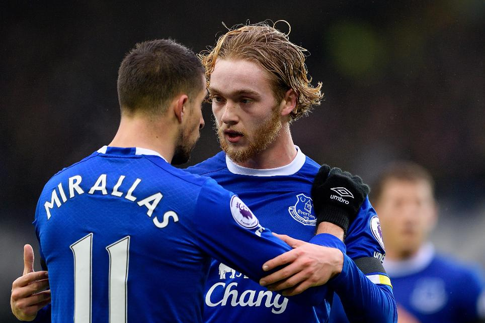 Kevin Mirallas and Tom Davies, Everton