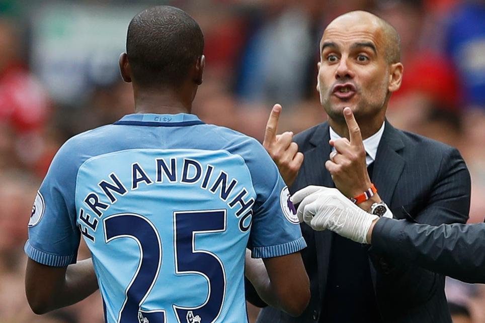 Guardiola and Fernandinho, Man City
