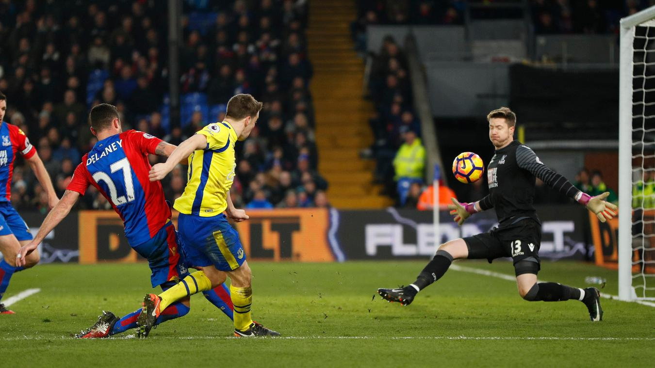 Everton's Seamus Coleman scores their first goal v Crystal Palace